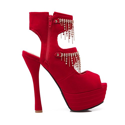 Adee da donna con frange high-heels Frosted sandali, Rosso (Red), 35