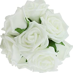 10pcs Classic White Purple Pink Lvory Beige Rose Flowers for Wedding Bridesmaid Bridal Bouquet (White 01) 2
