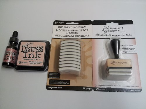 - Ranger Tim Holtz Distress Rubber Stamp Ink Pad with Re-inker refill ink bottle Tattered Rose & Inkssentials Ink Blending tool with 10 ink blending tool foam refills replacement Bundle