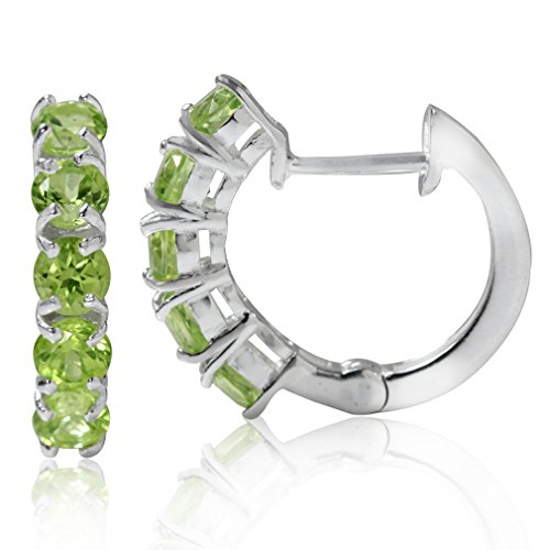 1.9ct. 5-Stone Natural Peridot 925 Sterling Silver Huggie - Natural 1.9 Ct