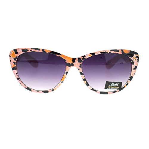 Giselle Color Leopard Animal Print Mod Retro Chic Cat Eye Sunglasses - Cat Eye Leopard Sunglasses Print