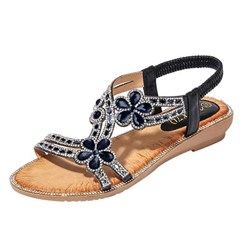 Lambskin Leather Platforms (Bohemia Summer Women Ladies Bling Flower Crystal Flat Sandals Beach Casual Shoes 2019 New Summer Beach Sandals Slippers for Girls Women Ladies Under 10 Dollars Black)