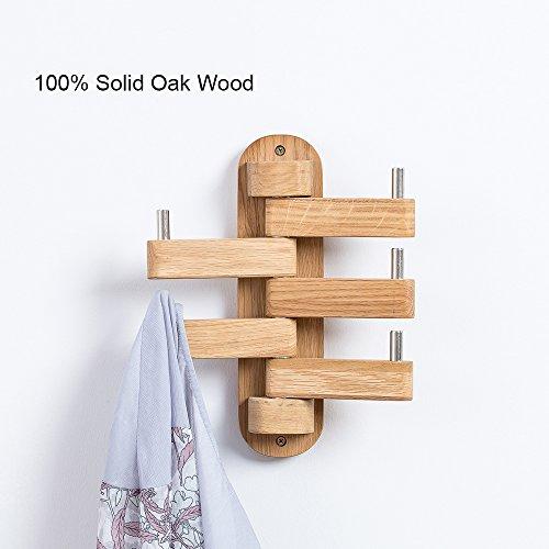 Solid Wood Swivel Coat Hooks Folding Swing Arm 5 Hat Hanger Rail Multi Foldable Arms Towel/Clothes Hanger for Bathroom Entryway Bedroom Office Kitchen Kids Garage Wall Mount Accessories (Oak Wood) ()