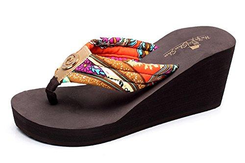 Fortuning's JDS Bohemia Anti-skid wedge flip flop slippers Brown