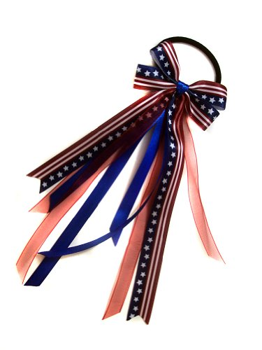 - Ribbon Streamer Ponytail Holder Collection (Scrunchie, Patriotic American Flag)