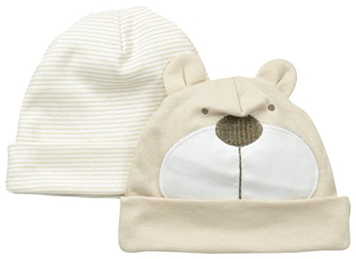 Gerber Unisex-Baby Newborn 2 Pack Novelty Caps Bear, Brown, 0-6 Months