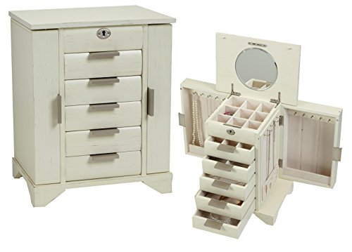Contemporary Wooden Locking Jewelry Box (Vintage White)
