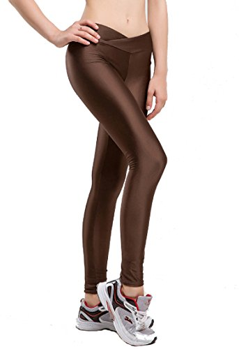 Romastory Women Fluorescent Colors Tights Stretched Sports Leggings Yoga Pants (L, Coffee) ()