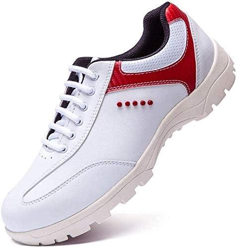 防水性と通気性ゴルフシューズ、メンズカジュアルスニーカースタッド (Color : Red, Size : 39EU)