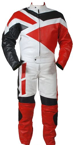 Perrini 2pc Motorcycle Riding Racing Track Suit all Leather w/ Padding Drag Suit New Red