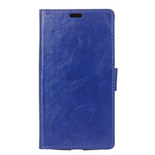 Lusee® PU Caso de cuero sintético Funda para Acer Liquid X2 Cubierta con funda de silicona botón caballo Loco patrón negro caballo Loco patrón azul