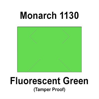 200,000 Monarch 1130 compatible Fluorescent Green General Purpose Labels for Monarch 1130 Price Guns. Full Case + 8 ink rollers. WITH Security Cuts.