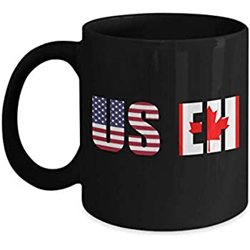 Amazon.com: USEH America Canada Flag mug Funny American ...