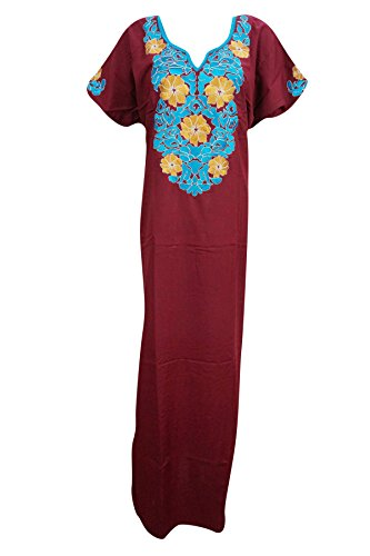 Mogul Moroccan Caftans Womens Red Embroidered Long Kaftan Dress xxl