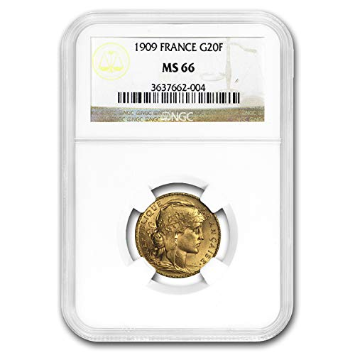 1909 FR France Gold 20 Francs Rooster MS-66 NGC Gold MS-66 NGC