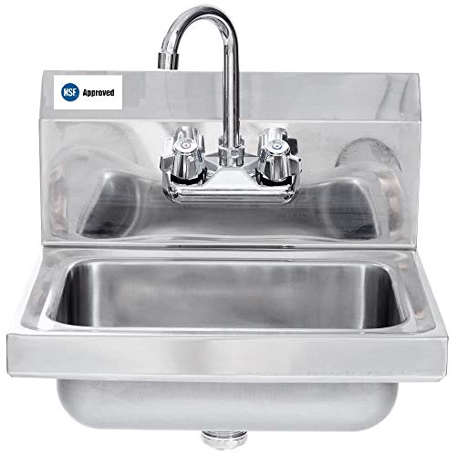 (Commercial Stainless Steel Wall-Mount Hand Sink -)