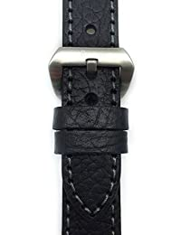 Genuine Black Leather Watch Strap 24mm, Thick Strap, Large Buckle, for Panerai