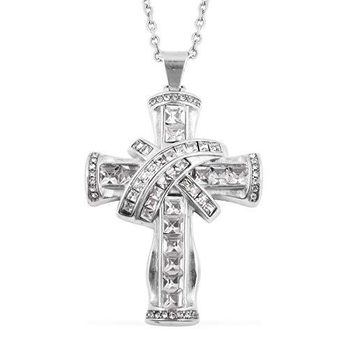(CZ Cubic Zircon Baguette Cut Cross Pendant Necklace Chain Jewelry for Women 20