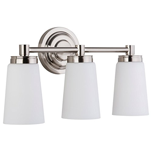 (Sheffield 3 Light Bathroom Vanity Brushed Nickel w/Frosted Glass Linea di Liara LL-WL260-3-BN)
