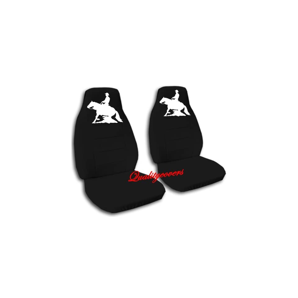 Black Reining Horse seat covers. 40/60 split seat covers for a Ford F 150 Super Crew cab. Center console included