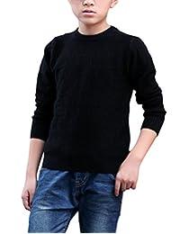 MFrannie Boys Honeycomb Stitch Warm Ribbed Crew-Neck Casual Sweater
