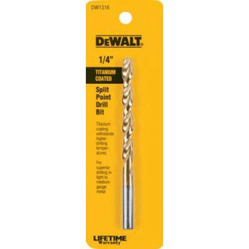 DEWALT DW1316 1/4-Inch Titanium Split Point Twist Drill Bit (Bit 1/4 Twist Drill)