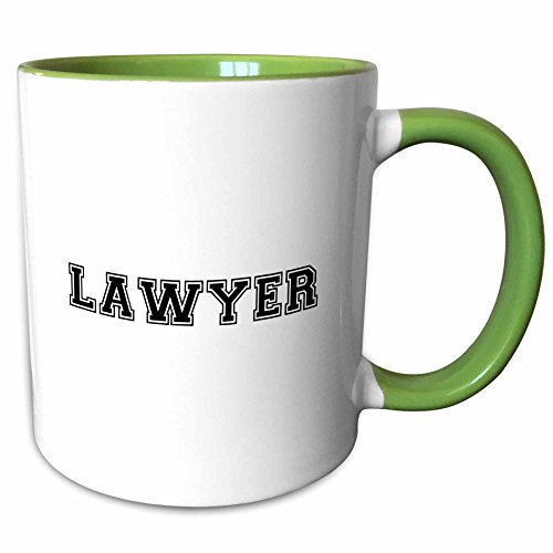 3dRose InspirationzStore Typography - Lawyer - black and white text - proud law graduate - work and job pride gifts - solicitor barrister - 15oz Two-Tone Green Mug (mug_151227_12) ()