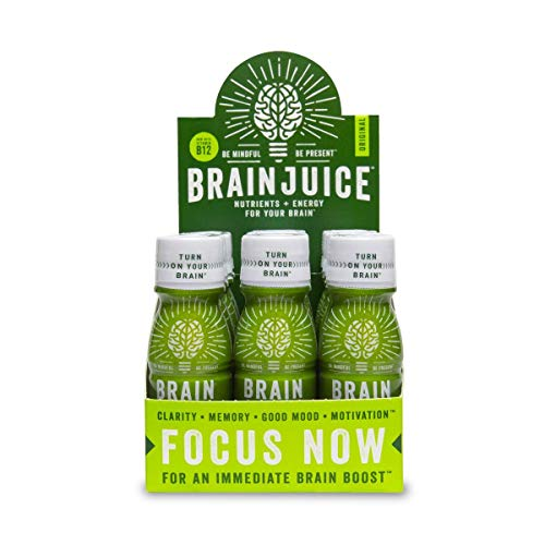 BrainJuice Brain Booster Shot, Original   Liquid Drink for Immediate Nutrients, Energy, and Clarity, with Green Tea Extract Caffeine, Alpha-GPC, Non-GMO  Pack of 12, 2.5 fl oz (74 ml)