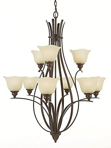 Feiss F2052/6+3GBZ Morningside Glass Chandelier Lighting, Bronze, 9-Light (34