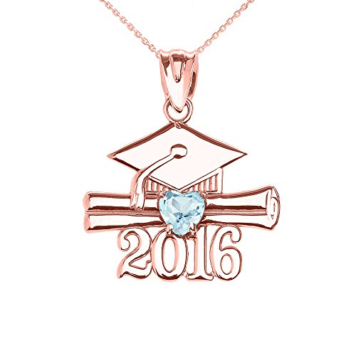 Collier Femme Pendentif 14 Ct Or Rose Cœur Mars Pierre De Naissance Agua Oxyde De Zirconium Classe De 2016 Graduation (Livré avec une 45cm Chaîne)