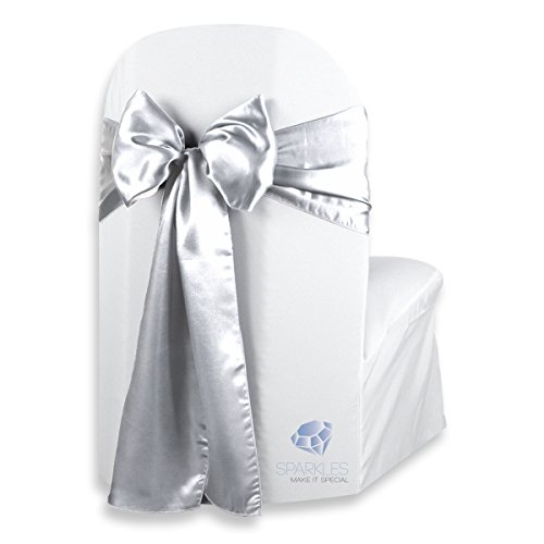 (Sparkles Make It Special 50 pcs Satin Chair Cover Bow Sash - Silver - Wedding Party Banquet Reception - 28 Colors Available)