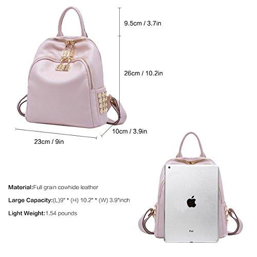 BOYATU Pink Travel Genuine Mini Girls Shoulder Purses Black Backpack Women Light for Bag Leather XXOqwB