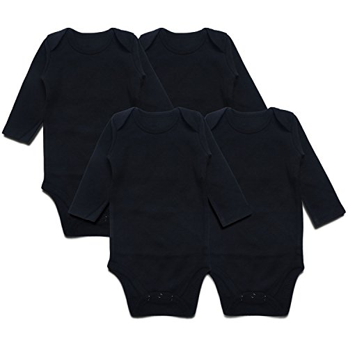 SOBOWO Neutral Unisex Baby Bodysuit, Infant Long Sleeve Onsies, Newborn Girls Boys Cotton Romper Pack of 4(6-9 Months, Black)