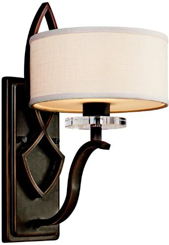 - Kichler 45178OZ, Leighton Crystal Wall Sconce Lighting, 1 Light, 60 Watts Halogen, Olde Bronze