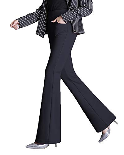 MYIFU Womens Yoga Dress Pants Bootcut with Pockets High Waist Tummy Contorl Slim Stretch Bootleg Work SlacksBlack XL