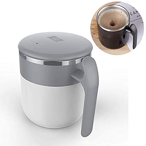 - Magnetic Self Stirring Coffee Mug, Stainless Steel Thermal Storage Self Mixing & Spining Cup for Stir Coffee Milk Juice No Battery No Spoon (White Grey)