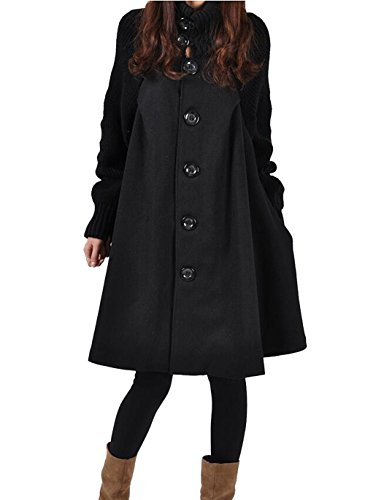 Women's Mid Long Single Breasted Cowl Neck Loose Woolen Trench Cloak Coat (X-Large, Black) (Ladies Swing Coat)