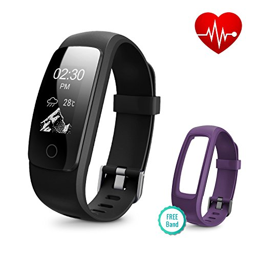 Fitness Tracker With Heart Rate Monitor  Runme Activity Tracker Smart Watch With Sleep Monitor  Ip67 Water Resistant Walking Pedometer With Call Sms Remind For Ios Android  Black Purple