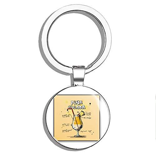 (1080 Graphics Pina Colada Mixology Metal Round Metal Key Chain Keychain Ring)