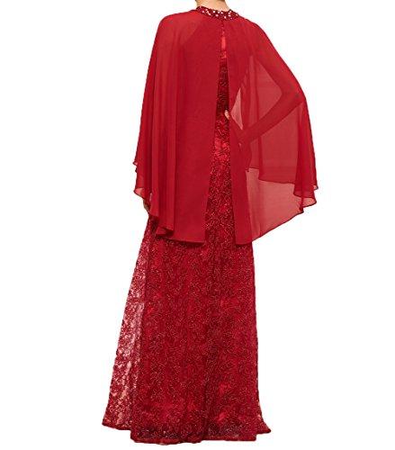 Grün Damen Stola Abendkleider Ballkleider Partykleider Festlichkleider Charmant mit Brautmutterkleider Chiffon Langes Spitze 4WPZq