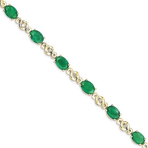 ICE CARATS 14k Yellow Gold Diamond Green Emerald Bracelet 7 Inch Gemstone Fine Jewelry Gift Set For Women Heart by ICE CARATS (Image #1)