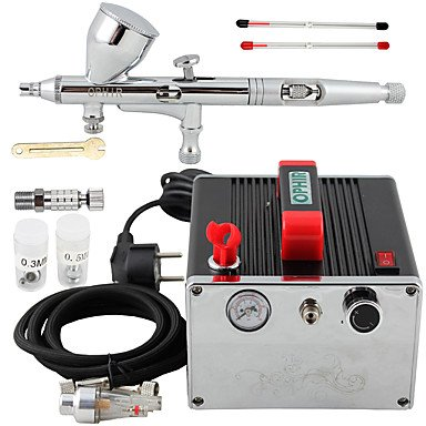 WST Pro 0.2mm 0.3mm 0.5mm Dual Action Airbrush Kit & Air Compressor for Nail Art Makeup , 220v by ZHUQUE