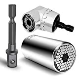 """Multi-Function 7mm-19mm Ratchet Universal Gator Sockets Metric Wrench Power Drill Adapter Set and 105 Degree Right Angle Extension Power Screwdriver Drill Attachment 1/4"""" Drive 6mm Hex Magnetic Bit"""