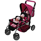 Mommy & Me Triplet Doll Pram Back to Back with Swiveling Wheels & Free Carriage Bag - 9668