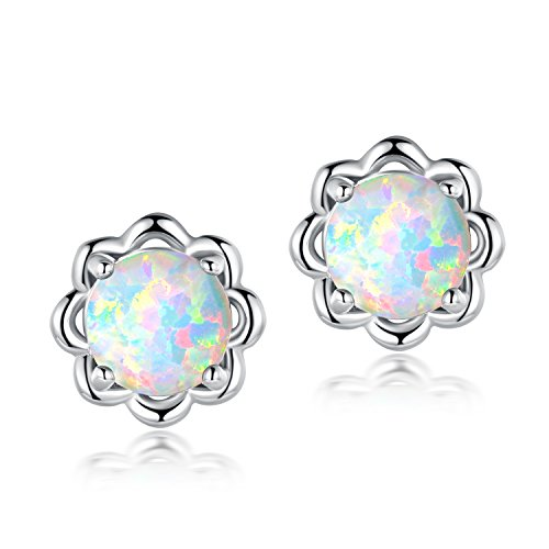 OPALTOP Hypoallergenic Flower Stud Earrings White Fire Opal Gemstone For Girls White Gold Platinum (White Opal Flower)