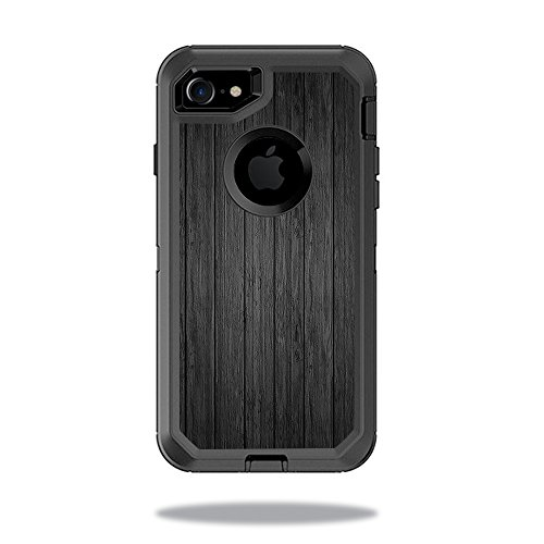 Skin for OtterBox Defender iPhone 8 - Black Wood| MightySkins Protective, Durable, and Unique Vinyl Decal wrap cover | Easy To Apply, Remove, and Change Styles | Made in the (Black Florida Flooring)