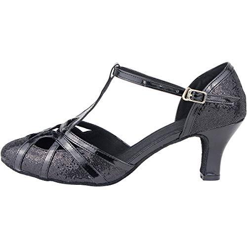 Femme wealsex Bloc Jazz 33 de Confort Sandales Noir Taille Ethniques Fermé Talons cha Salomé Cha 43 Moyen Latine Danse Salon Bout chá Chaussures UKrqY6wU