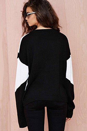 ZKOO Jersey Mujeres Cuello V Negro Blanco Suéter de Punto Manga Larga Suelto Sudadera Pullover Jumper Tops de Punto Como la imagen