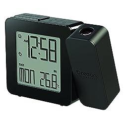 Oregon Scientific PROJI Projection Atomic Clock with Indoor Temperature Calendar Alarm - Black