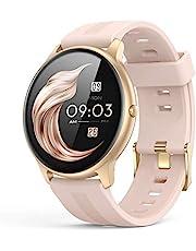 AGPTEK smartwatch damski, wodoodporny, pełny ekran dotykowy 1,3 cala, z monitorowaniem stanu zdrowia kobiety, pulsometrem, powiadomieniami o wiadomościach, do telefonów z systemem Android oraz iOS